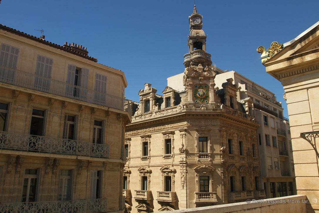 The 19th century architecture from the terrace of the opera house, Toulon.