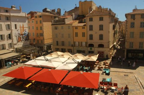 The view on a typical square from the terrace of the opera house, Toulon