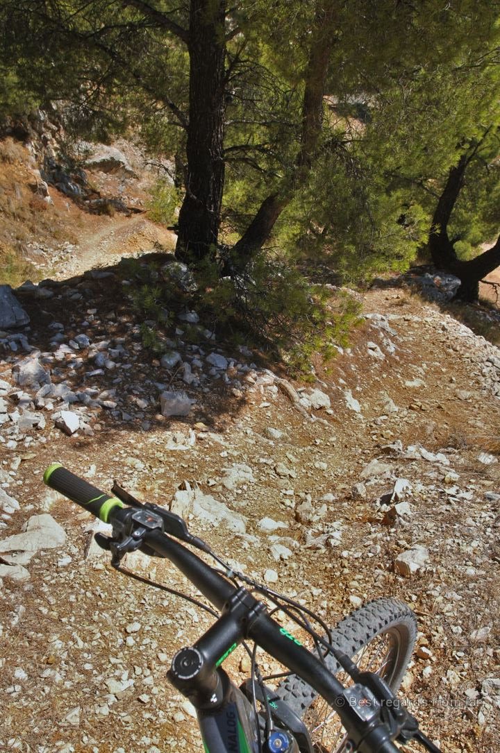 A 180° bend on the mountain bike trail of the Mont Faron, Toulon, France.