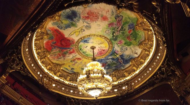 The ceiling by Chagall of the Opéra Garnier, Paris, France