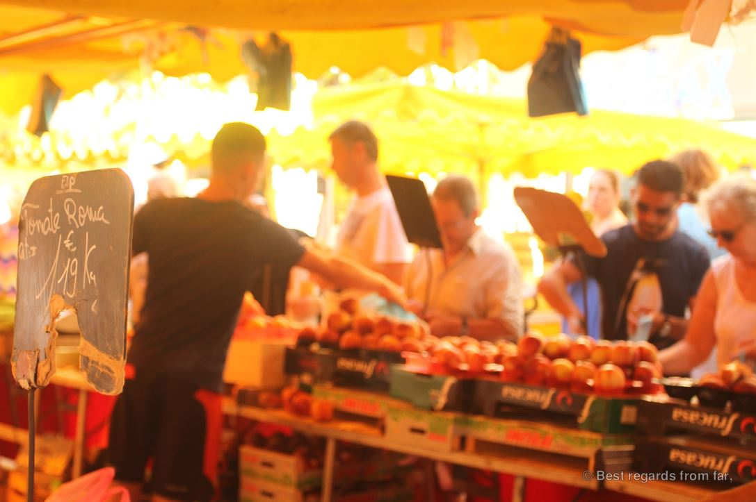 The lively and traditional market of Toulon, French Riviera.
