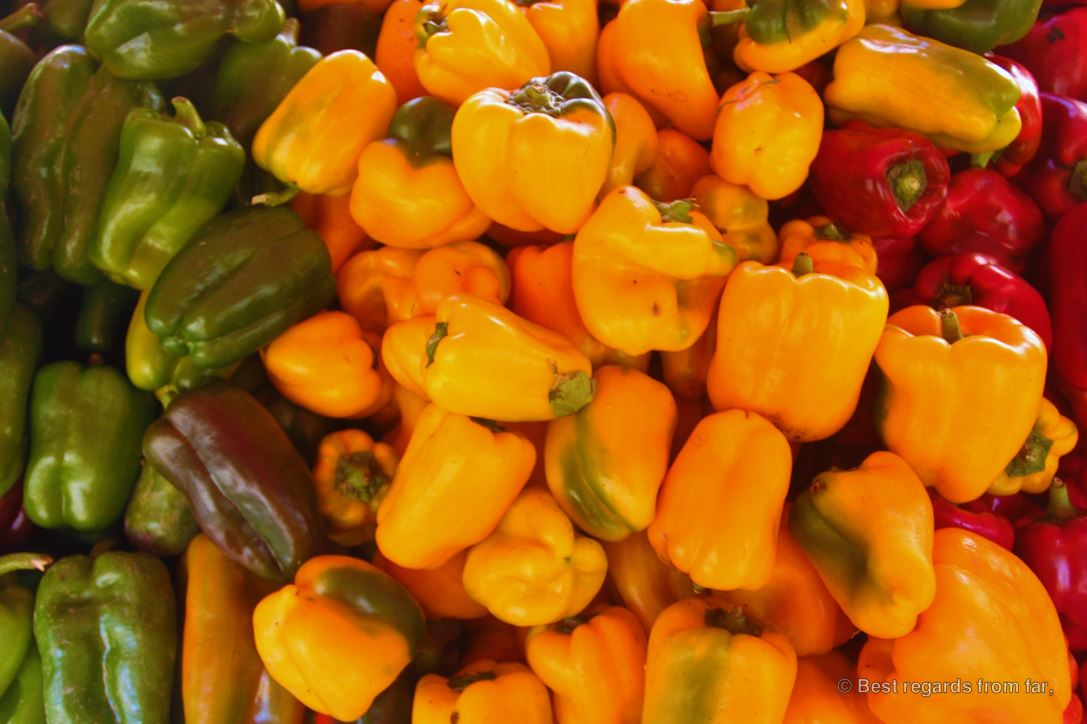 Locally grown peppers on the traditional market of Toulon, French Riviera.