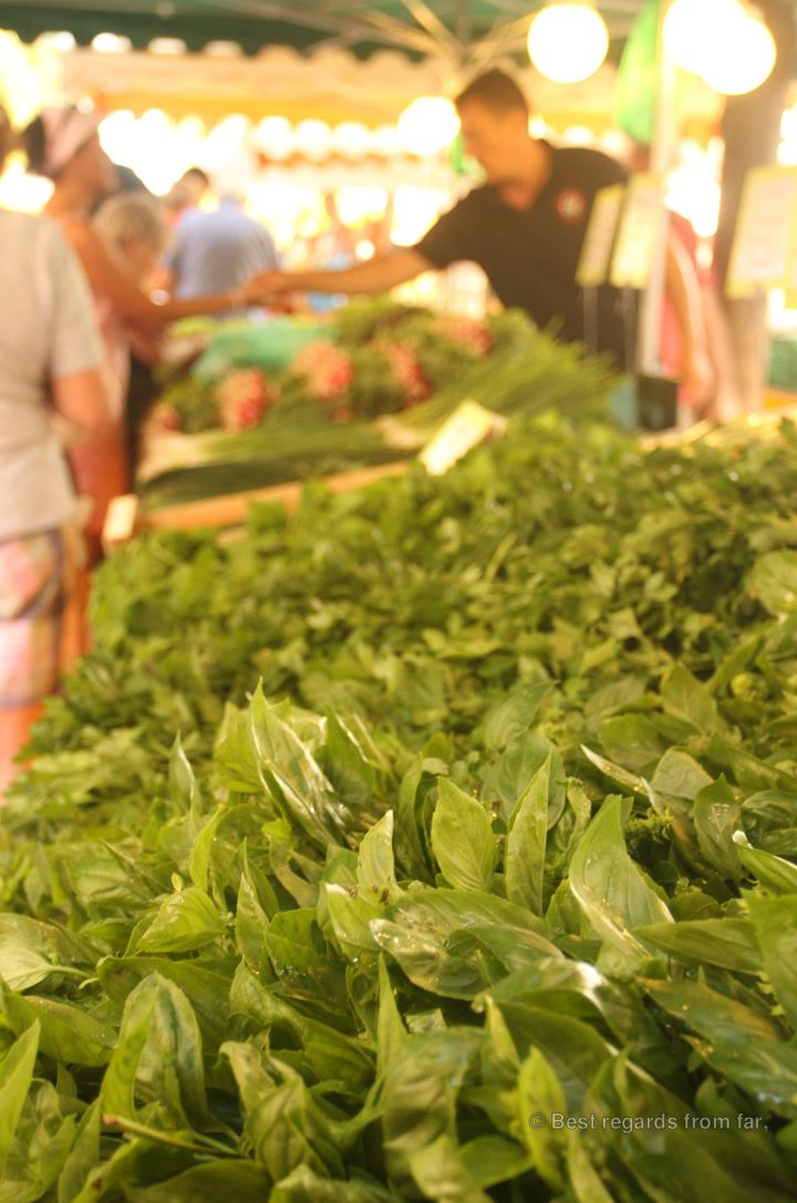 Fresh herbs on the traditional market of Toulon, French Riviera.