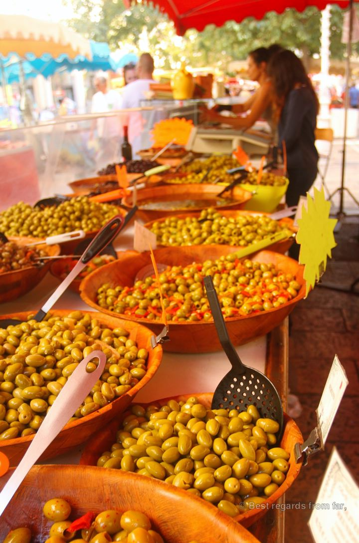 Green olives on the traditional market of Toulon, French Riviera.