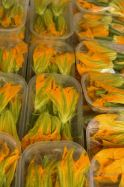 Zucchini flowers on the traditional market of Toulon, French Riviera.