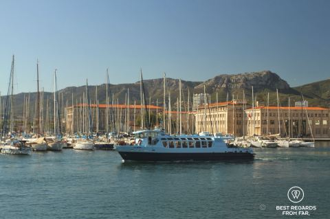 Exploring world's third largest bay from the seaside, Toulon, France.