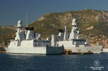 Stealth frigates of the French fleet in the military harbour of Toulon, France.
