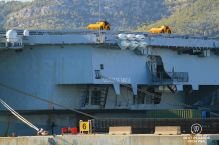 The nuclear-powered Charles de Gaulle aircraft carrier, Toulon, France