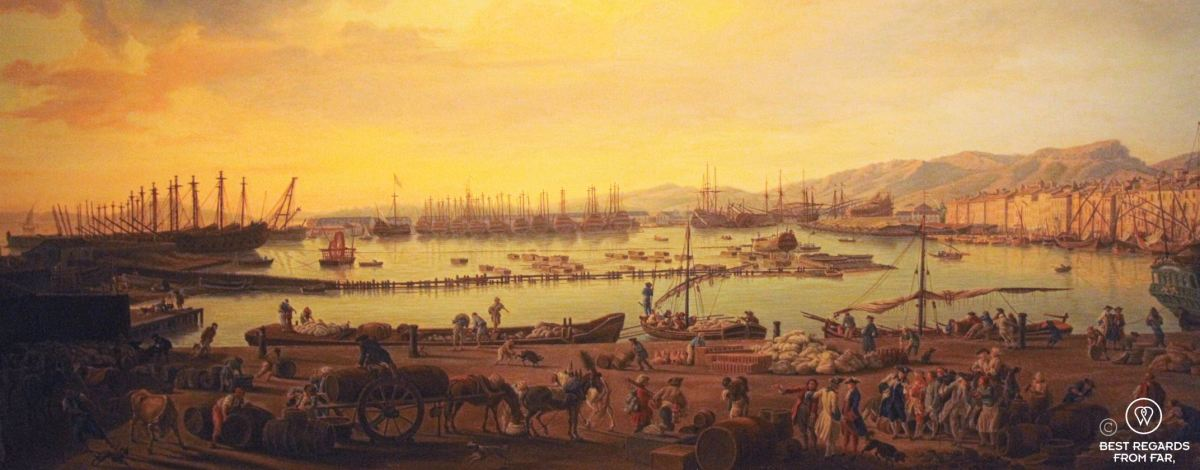 The Naval Museum of Toulon, France: painting of the old harbour.