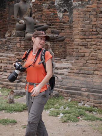 Claire versus monkey in Lopburi, Thailand