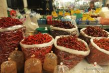 Hot chilli peppers at a local market near Chiang Mai, Thailand