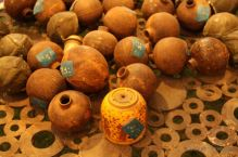 Collection of UXO (unexploded ordnance) dropped by the USA during the secret war in Laos found in fields.