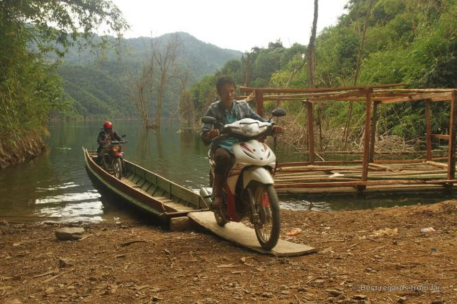 Challenging river crossing in northern Laos!