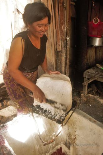 Rice noodle making, Battambang, Cambodia