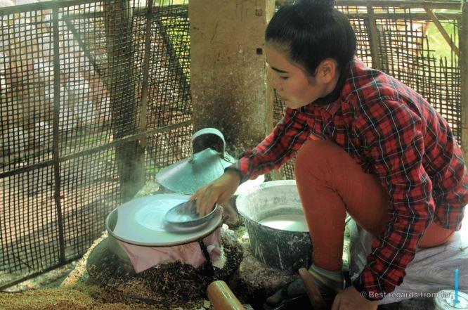 Rice paper making in Battambang, Cambodia