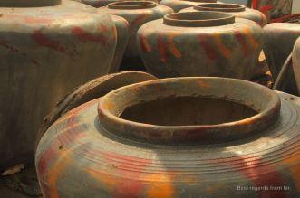 Hand made water jars in Battambang, Cambodia