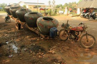 Water jars transport, Battambang, Cambodia