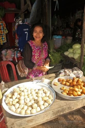 Fried rice-and-banana balls on the Preah Dak market, Cambodia