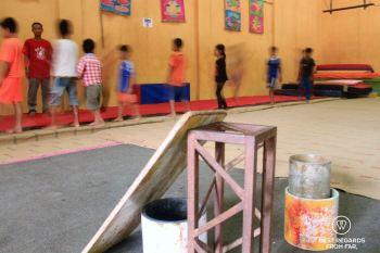 One of the founders of the Phare Ponleu Selpak circus teaching in Battambang, Cambodia