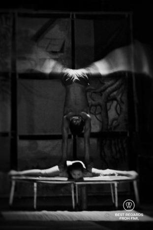 Circus act at the Phare Ponleu Selpak circus in Battambang, Cambodia