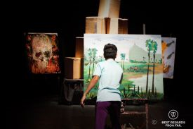 Artist painting live during the performances at Phare the Cambodian Circus, Siem Reap, Cambodia.