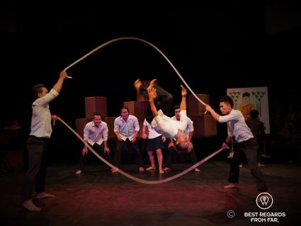Rope-skipping tricks, Phare the Cambodian Circus, Siem Reap, Cambodia.
