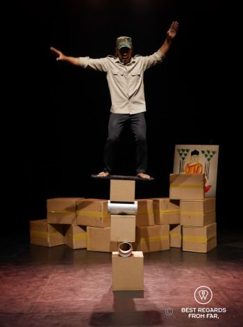 Balancing act at Phare the Cambodian Circus, Siem Reap, Cambodia.