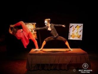 Contortionist act at Phare the Cambodian Circus, Siem Reap, Cambodia.