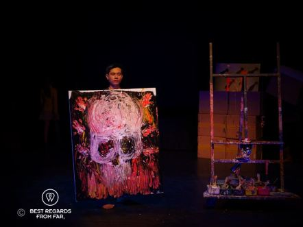 Live painting at Phare the Cambodian Circus, Siem Reap, Cambodia.