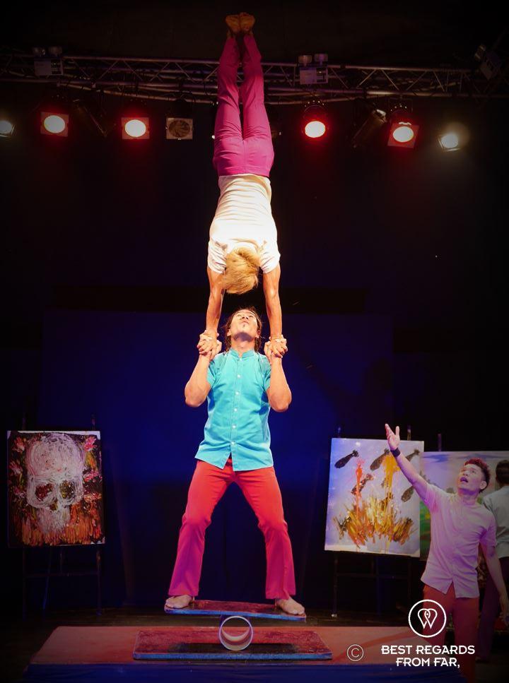 Acrobats performing a human pyramid at Phare the Cambodian Circus, Siem Reap, Cambodia