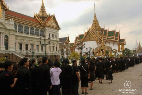 Thai people paying a last respect to their beloved King Rama IX in the Grand Palace, Bangkok, Thailand