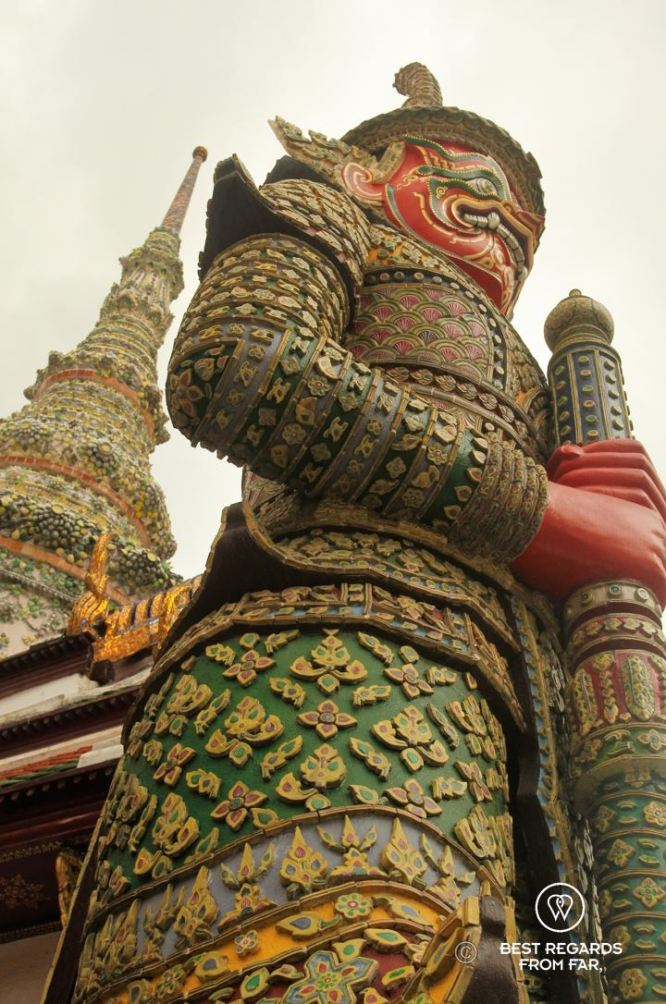 Close-up of a demon guardian at the Grand Palace, Bangkok, Thailand