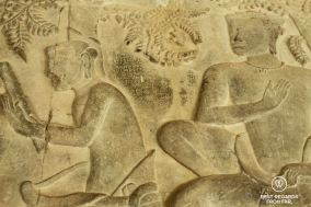 Details of the bas reliefs of Angkor Wat, Cambodia