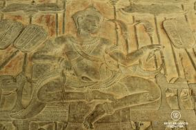Suryavarman II, the builder of Angkor Wat on the bas reliefs of Angkor Wat, Cambodia