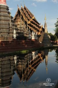 The reflection pond of Wat Phan Tao, Chiang Mai, Thailand