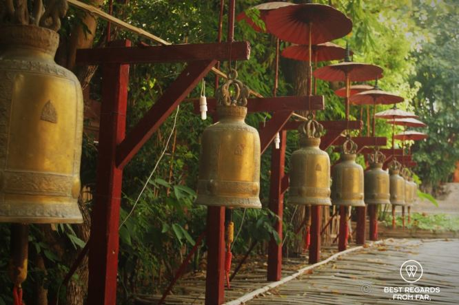 Bells used for ceremonies, Wat Phan Tao, Chiang Mai, Thailand