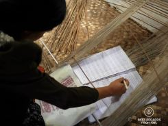 Creating the scheme for 3D weaving on the loom, Siem Reap, Cambodia