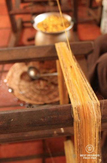 Spinning the golden silk cocoons, Siem Reap, Cambodia