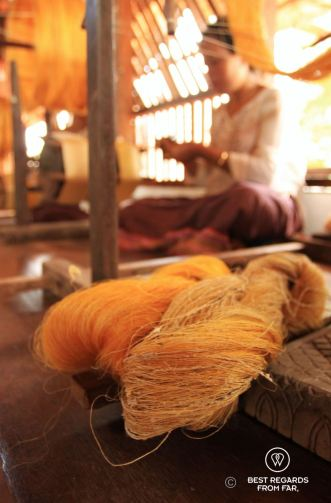Coarse golden silk and fine and washed golden silk, Siem Reap, Cambodia
