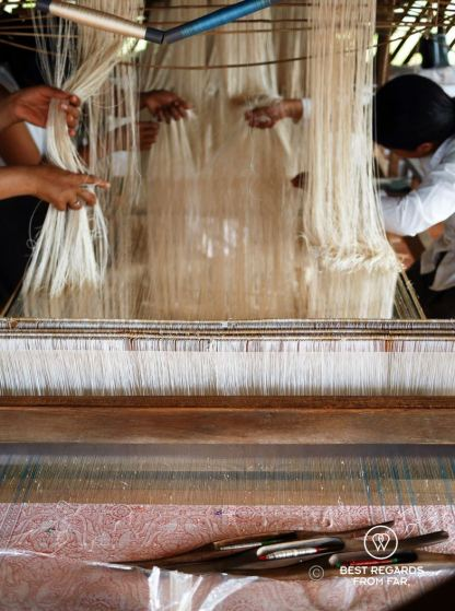 Setting up the loom for the 3D weaving, Siem Reap, Cambodia