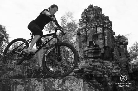 Mountain biking Angkor Thom, Angkor, Cambodia