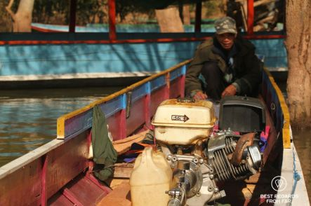 The precious engine of the long-tail boat, Nam Ou River, Laos