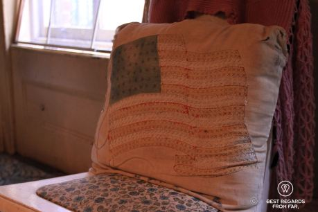 A handmade cushion by new immigrants, The Tenement Museum, New York City