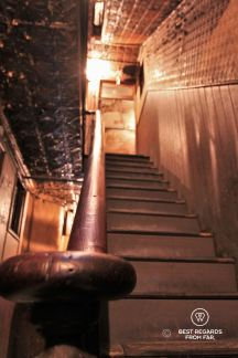 The banister that has supported the 7000 tenants who lived at 97 Orchard Street, Tenement Museum, New York City