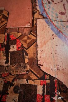 Five different layers of linoleum in the Baldizzi's falt at the Tenement Museum, New York City