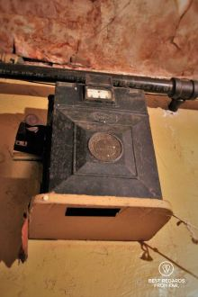 The gas meter providing 1 hour of gas for 25 cents, the Tenement Museum, New York City