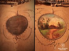 Wall painting at the Tenement Museum, before and after cleaning, New York City