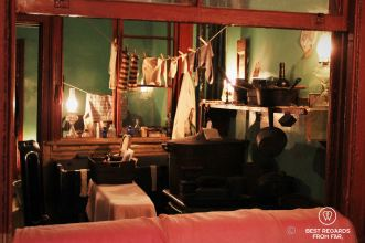 The Levine' kitchen and bedroom seen from their living room at the Tenement Musuem, New York City