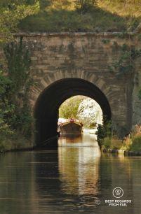 The 165-metre long Malpas tunnel along the Canal du Midi, France