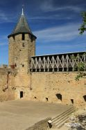 Medieval tower in the castle of Comtal, Carcassonne on a sunny day without people.